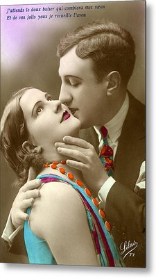 Couple Kissing Metal Print by French School