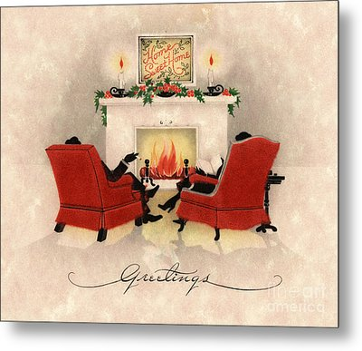 Couple Sitting Before Roaring Fireplace On Christmas Eve Metal Print