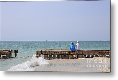 Couple Sitting On An Old Jetty Siesta Key Beach Florida Metal Print by Edward Fielding