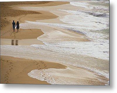 Couple Walking Makena Beach Metal Print