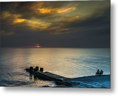 Metal Print featuring the photograph Couple Watching Sunset by John Williams