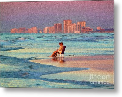 Couple Watching The Sunset Metal Print