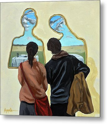 Couple With Their Heads Full Of Clouds Metal Print by Linda Apple