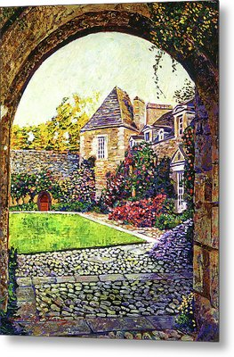 Courtyard Impressions Provence Metal Print by David Lloyd Glover
