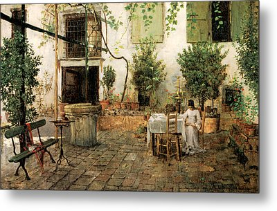 Courtyard In Venice Metal Print