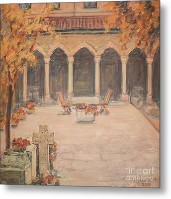 Metal Print featuring the painting Courtyard Of Stravopoleos Church by Olimpia - Hinamatsuri Barbu