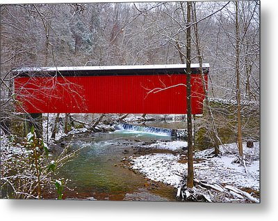 Covered Bridge Along The Wissahickon Creek Metal Print by Bill Cannon