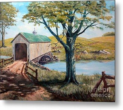 Covered Bridge, Americana, Folk Art Metal Print by Lee Piper