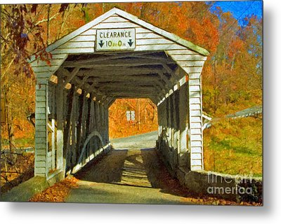 Metal Print featuring the photograph Covered Bridge Impasto Oil by David Zanzinger