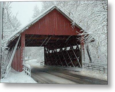 Covered Bridge In Snow Metal Print