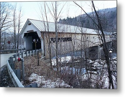 Covered Bridge In Southern Vermont Metal Print by John Power
