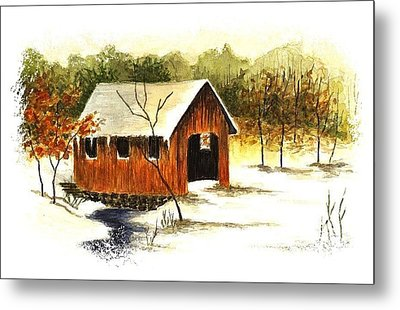 Covered Bridge In The Snow Metal Print by Michael Vigliotti