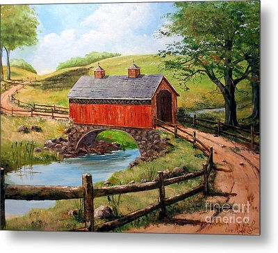 Covered Bridge Country Farm Folk Art Landscape Metal Print by Lee Piper