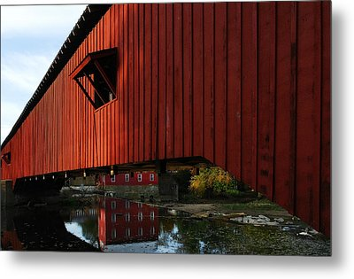 Covered Bridge Reflections Metal Print by Tri State Art