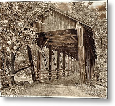 Covered Bridge  Sepia Tone Metal Print by Mindy Sommers