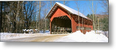Covered Bridge, Stowe, Winter, Vermont Metal Print by Panoramic Images