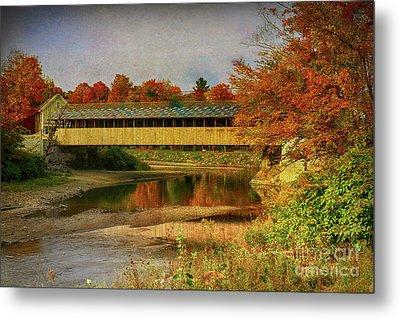 Covered Bridge Vermont Autumn Metal Print by Deborah Benoit