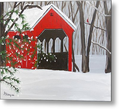 Covered Bridge Visitor Metal Print by Janice Molesky
