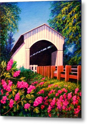 Covered Bridge With Flowers Metal Print by Yvonne Hazelton