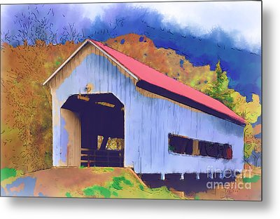 Covered Bridge With Red Roof Metal Print