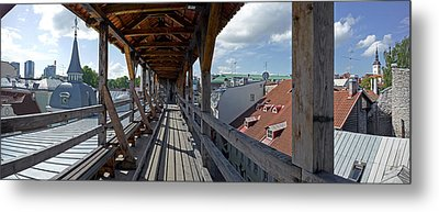 Covered Bridge With St Olafs Church Metal Print by Panoramic Images