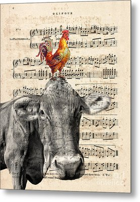 Cow And Rooster Metal Print