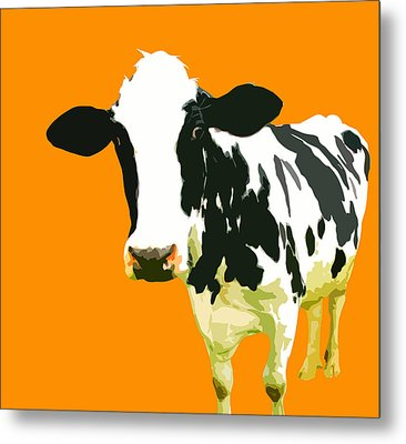 Cow In Orange World Metal Print