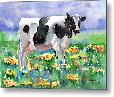 Cow In The Meadow Metal Print by Arline Wagner