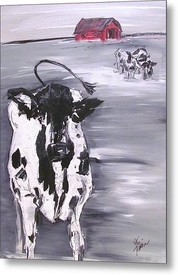 Cow In Winter Metal Print