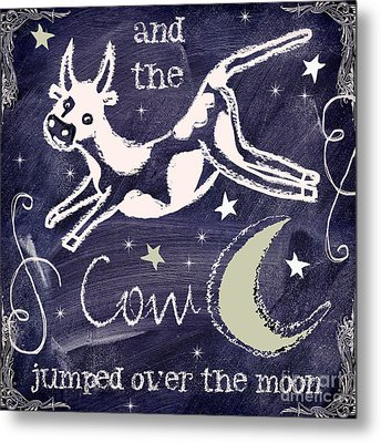 Cow Jumped Over The Moon Chalkboard Art Metal Print by Mindy Sommers