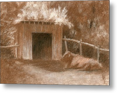Cow Shed Metal Print
