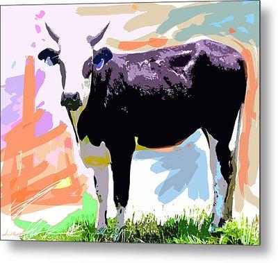 Cow Time Metal Print by David Lloyd Glover