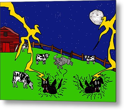 Cow Tipping Metal Print by Jera Sky