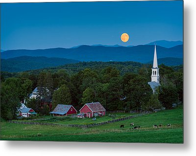Cow Under The Moon Metal Print