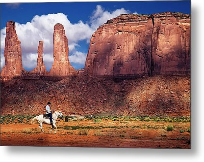 Metal Print featuring the photograph Cowboy And Three Sisters by William Lee