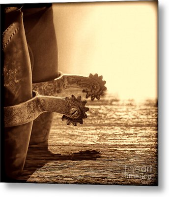 Cowboy Boots And Riding Spurs Metal Print