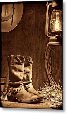Cowboy Boots At The Ranch Metal Print