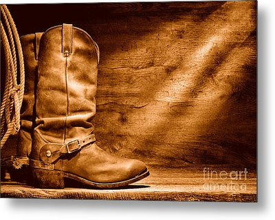 Cowboy Boots On Wood Floor - Sepia Metal Print by Olivier Le Queinec