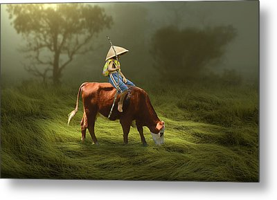 Metal Print featuring the mixed media Cowboy Cow Boy by Marvin Blaine