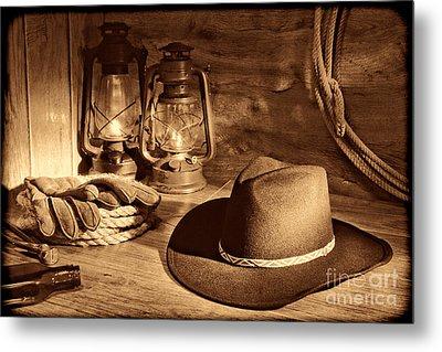 Cowboy Hat And Kerosene Lanterns Metal Print by American West Legend By Olivier Le Queinec