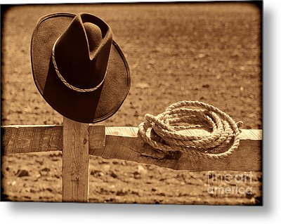 Cowboy Hat And Rope On A Fence Metal Print by American West Legend By Olivier Le Queinec
