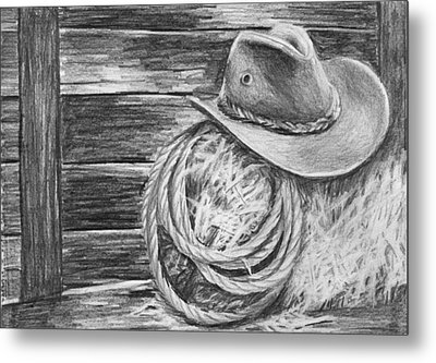 Cowboy Hat In A Barn Metal Print by Nolan Clark