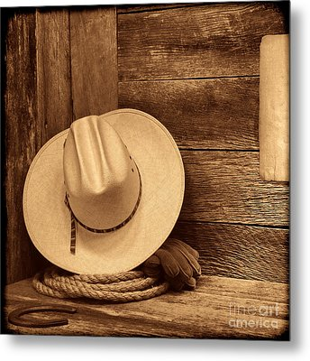 Cowboy Hat In Town Metal Print by American West Legend By Olivier Le Queinec