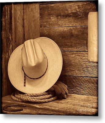 Cowboy Hat In Town Metal Print