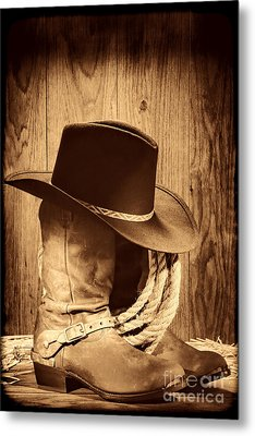 Cowboy Hat On Boots Metal Print by American West Legend By Olivier Le Queinec