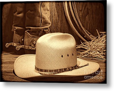 Cowboy Hat With Western Boots Metal Print