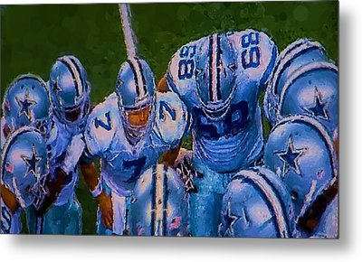 Cowboy Huddle Metal Print