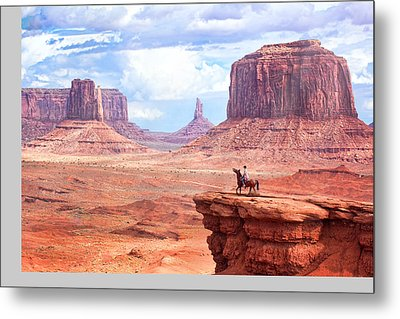 Cowboy In Monument Valley Metal Print by Kantor