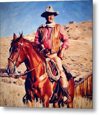 Cowboy John Wayne Metal Print by Vincent Monozlay