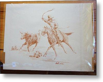Cowboy Roping A Steer Metal Print by Smart Healthy Life